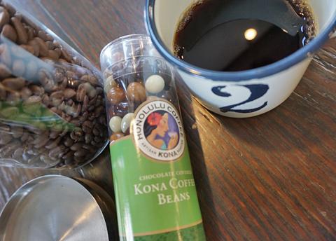 KONA COFFEE BEANSのチョコレートに日向ぼこブレンドを選びました↑。